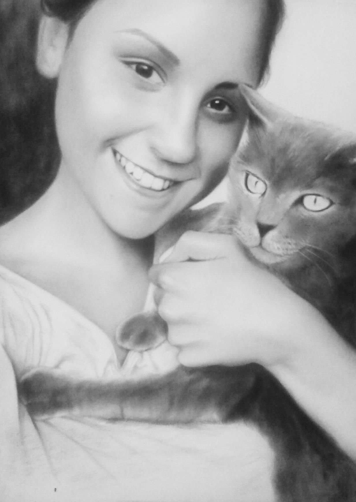 lány a cicával portré rajz
