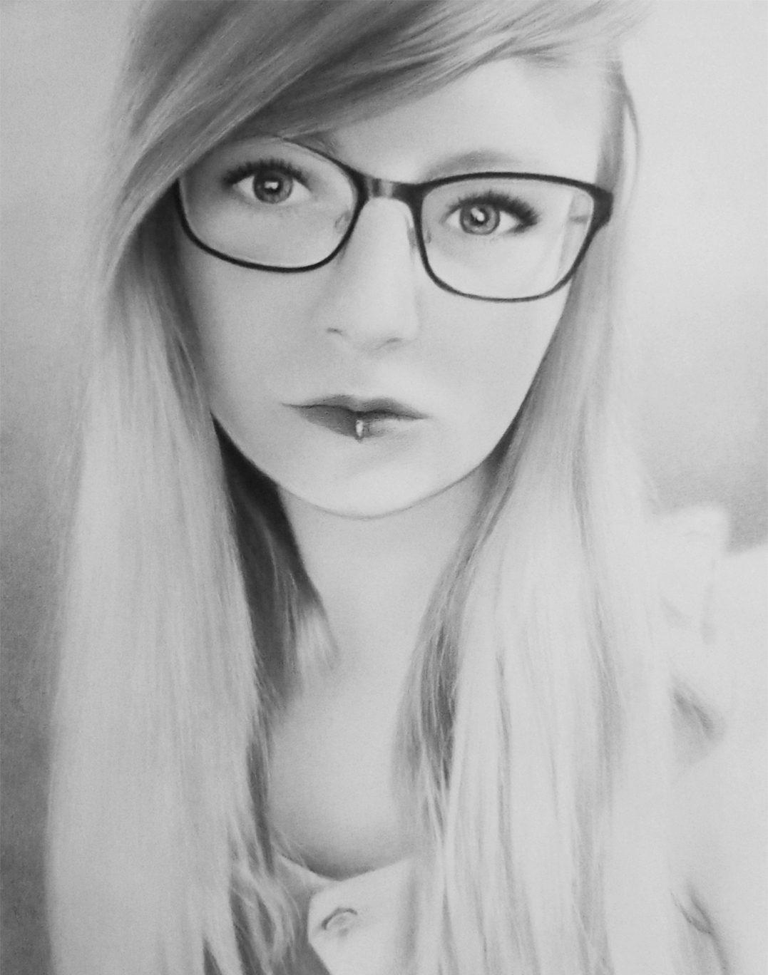 lány portré rajz